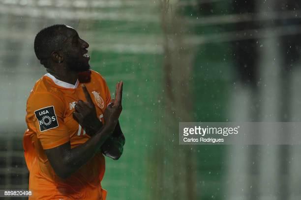 Porto's forward Moussa Marega from Mali celebrates scoring Porto fifth goal during the match between Vitoria de Setubal FC and FC Porto for the round...