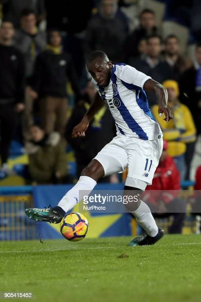 Porto's forward Moussa Marega from Mali in action during the Portuguese League football match Estoril Praia vs FC Porto at the Antonio Coimbra da...