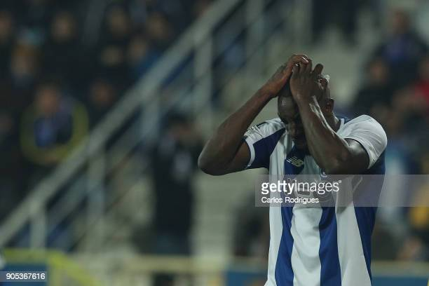 Porto's forward Moussa Marega from Mali reacts during the match between GD Estoril Praia and FC Porto for Portuguese Primeira Liga at Estadio Antonio...