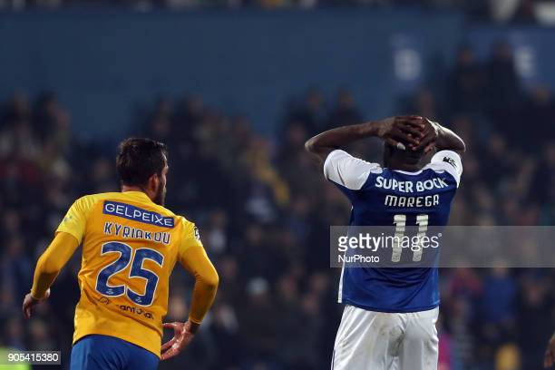 Porto's forward Moussa Marega from Mali reacts during the Portuguese League football match Estoril Praia vs FC Porto at the Antonio Coimbra da Mota...