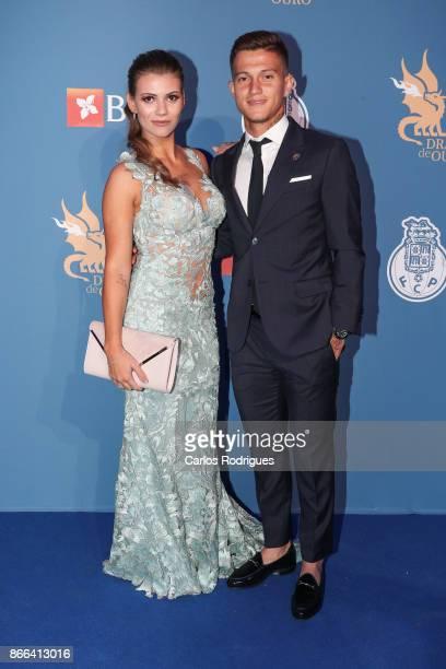 Porto's forward Otavio from Brazil and wife attends FC Porto Gala Dragoes de Ouro 2016 - 2017 at Dragao Caixa on October 25, 2017 in Porto, Portugal.