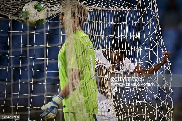 FC Porto's forward Ricardo Pereira reacts after missing a goal opportunity during the Portuguese league football match Belenses vs FC Porto at...