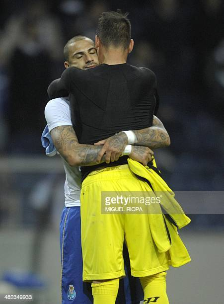 Porto's forward Ricardo Quaresma hugs Sevilla's Portuguese goalkeeper Beto at the end of the UEFA Europa League quarterfinals first leg football...