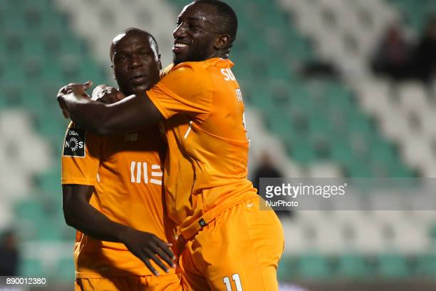 Porto's forward Vincent Aboubakar celebrates with Porto's forward Moussa Marega after scoring during the Portuguese League football match between...