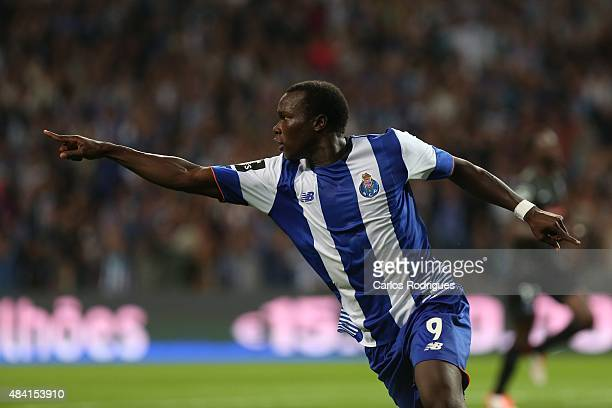 Porto's forward Vincent Aboubakar celebrating scoring Porto«s goal during the match between FC Porto and Vitoria Guimaraes for the Portuguese...