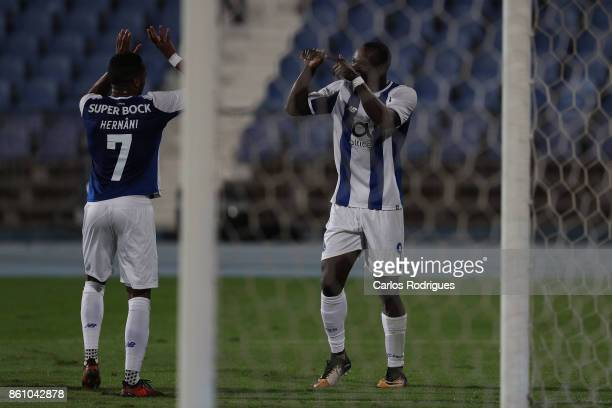 Porto's forward Vincent Aboubakar from Camaroes celebrates scoring Porto second goal with FC Porto's forward Hernani Fortes from Portugal during the...