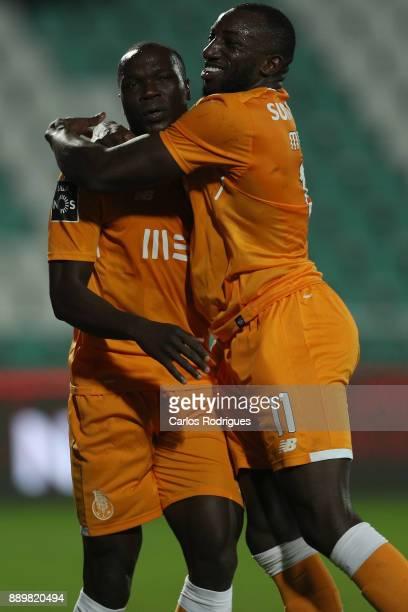 Porto's forward Vincent Aboubakar from Camaroes celebrates scoring Porto first goal with FC Porto's forward Moussa Marega from Mali during the match...