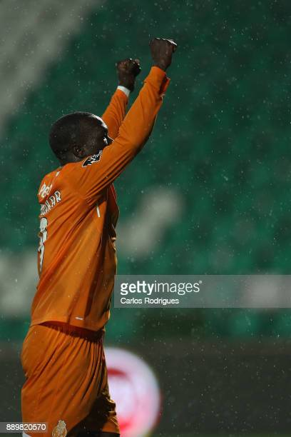 Porto's forward Vincent Aboubakar from Camaroes celebrates scoring Porto fourth goal during the match between Vitoria de Setubal FC and FC Porto for...