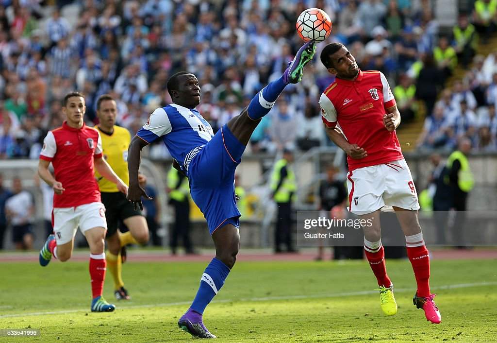 FC Porto's forward Vincent Aboubakar (L) with SC Braga's defender Marcelo Goiano (R) in action during the Portuguese Cup Final match between FC Porto and SC Braga at Estadio Nacional on May 22, 2016 in Lisbon, Portugal.