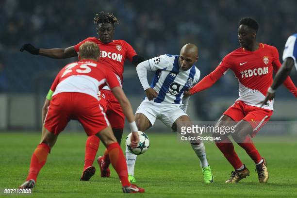 Porto's forward Yacine Brahimi from Algeria tries to escape Monaco defense during the match between FC Porto v AS Monaco or the UEFA Champions League...