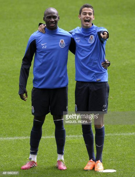 FC Porto's French defender Eliaquim Mangala and Mexican defender Diego Reyes take part in a training session at the Dragao Stadium in Porto on April...