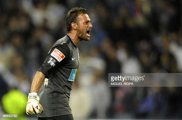 FC Porto´s goalkeeper FC Porto´s goalkeeper Antonio Pimparel Beto reacts after his team third goal during their Portuguese first league football...