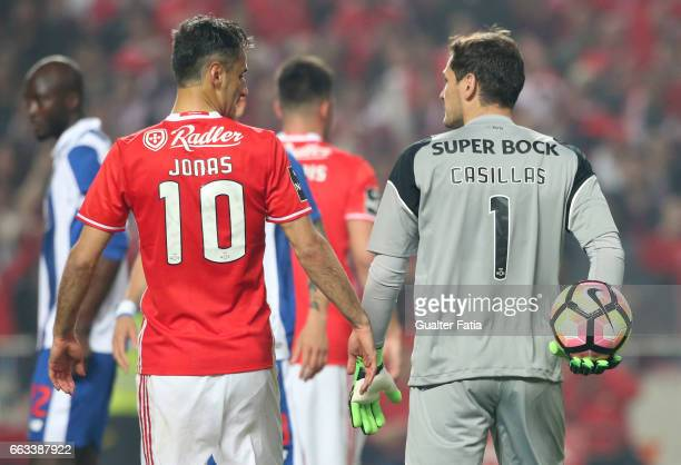 PortoÕs goalkeeper from Spain Iker Casillas with SL BenficaÕs forward from Brazil Jonas before the penalty kick during the Primeira Liga match...