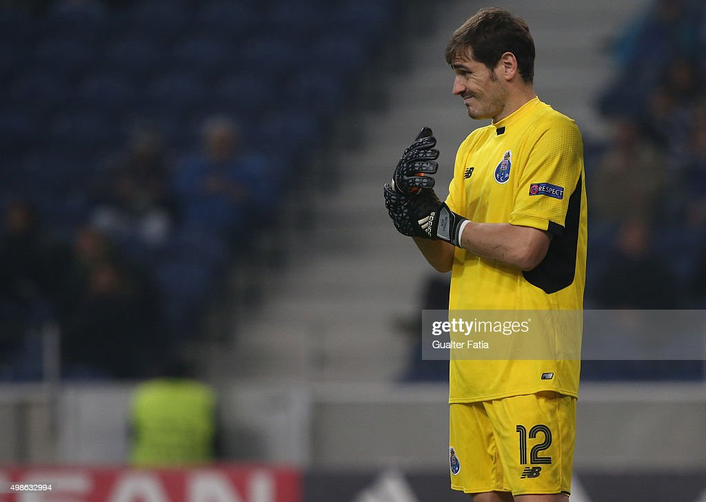 FC PortoÕs goalkeeper Iker Casillas in action during the UEFA Champions League match between FC Porto and FC Dynamo Kyiv at Estadio do Dragao on November 24, 2015 in Porto, Portugal.