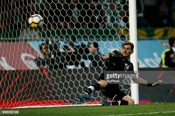 Porto's goalkeeper Iker Casillas misses the ball during Portuguese Cup 2017/18 match between Sporting CP vs FC Porto in Lisbon on April 18 2018