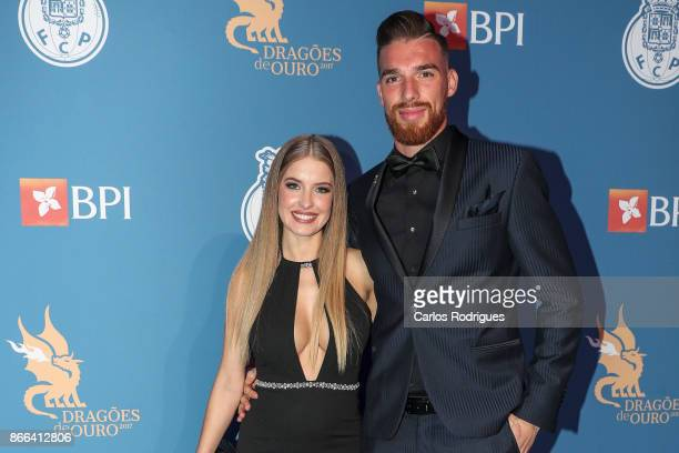Porto's goalkeeper Jose Sa from Portugal and guest Raquel Jacob FC Porto Gala Dragoes de Ouro 2016 2017 at Dragao Caixa on October 25 2017 in Porto...