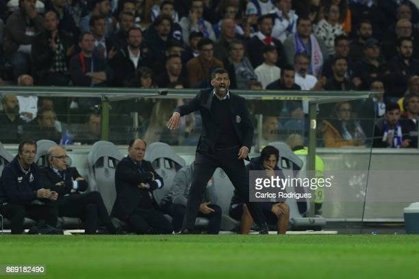 PortoÕs head coach Sergio Conceicao from Portugal during the match between FC Porto v RB Leipzig or the UEFA Champions League match at Estadio do...