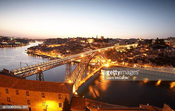 Porto's historic old town with Dom Luis 1 bridge in foreground, Portugal