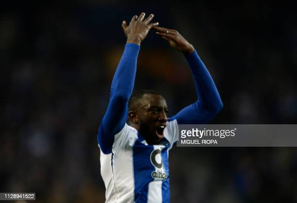 Porto's Malian forward Moussa Marega celebrates a goal during the UEFA Champions League round of 16 second leg football match between FC Porto and AS...