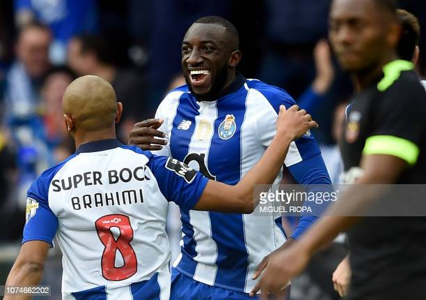 Porto's Malian forward Moussa Marega celebrates after scoring a goal during the Portuguese League football match between FC Porto and Rio Ave FC at...