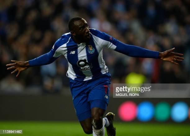Porto's Malian forward Moussa Marega celebrates after scoring a goal during the UEFA Champions League round of 16 second leg football match between...