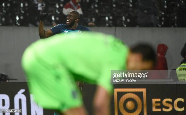 FC Porto's Malian forward Moussa Marega celebrates after scoring a goal during the Portuguese league football match between Vitoria Guimaraes SC and...