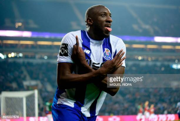 Porto's Malian forward Moussa Marega celebrates after scoring a goal during the Portuguese league football match FC Porto vs Maritimo at the Dragao...