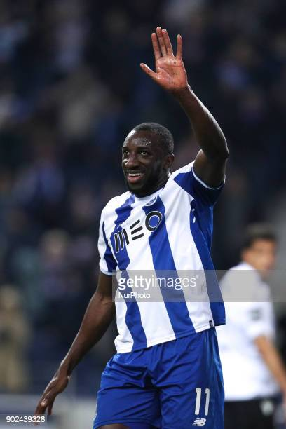 Porto's Malian forward Moussa Marega celebrates after scoring a goal during the Premier League 2017/18 match between FC Porto and Vitoria SC at...
