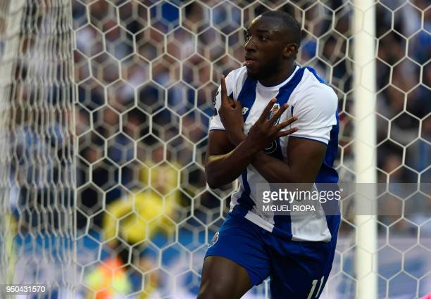 Porto's Malian forward Moussa Marega celebrates after scoring a goal during the Portuguese league football match between FC Porto and Vitoria Setubal...