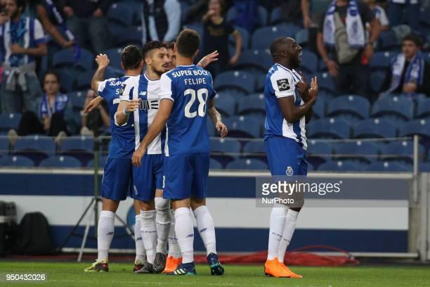 Porto's Malian forward Moussa Marega celebrates after scoring a goal during the Premier League 2016/17 match between FC Porto and Vitoria FC at...