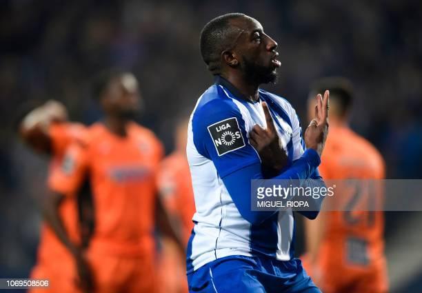 Porto's Malian forward Moussa Marega celebrates after scoring during the Portuguese league 1 football match between FC Porto and Portimonense at the...