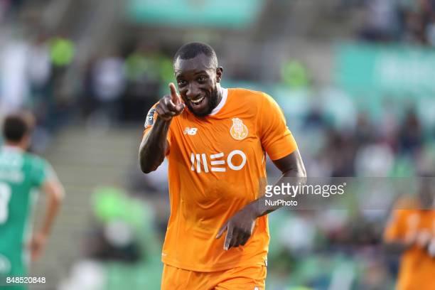 Porto's Malian forward Moussa Marega celebrates after scoring goal during the Premier League 2017/18 match between Rio Ave FC and FC Porto at Rio Ave...