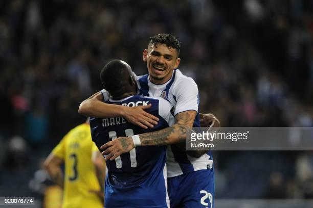 Porto's Malian forward Moussa Marega celebrates after scoring goal with teammate Porto's Brazilian forward Soares during the Premier League 2017/18...