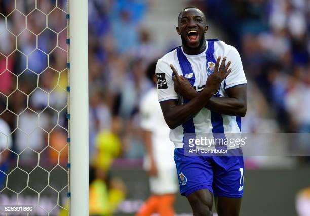 Porto's Malian forward Moussa Marega celebrates after scoring his second goal during the Portuguese league football match FC Porto vs Estoril Praia...