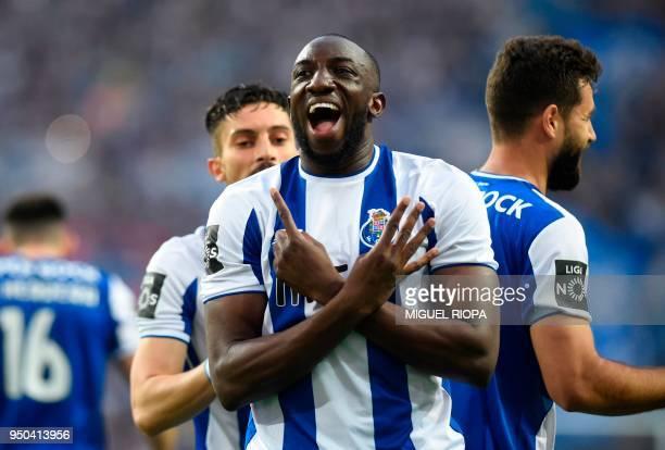 Porto's Malian forward Moussa Marega celebrates after scoring the opening goal during the Portuguese league football match between FC Porto and...