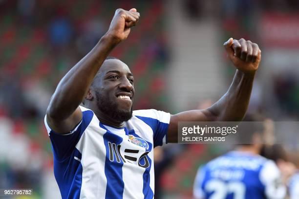 Porto's Malian forward Moussa Marega celebrates after the Portuguese league football match between Maritimo and Porto at the Maritimo Stadium in...