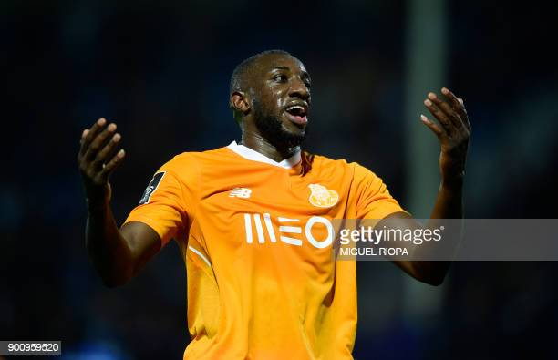 Porto's Malian forward Moussa Marega gestures during the Portuguese league football match CD Feirense vs FC Porto at the Marcolino de Castro stadium...