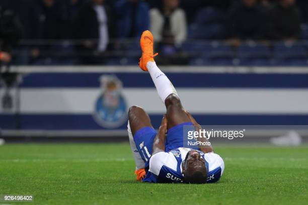 Porto's Malian forward Moussa Marega have a serious injury during the Premier League 2017/18 match between FC Porto and Sporting CP at Dragao Stadium...