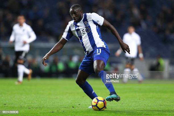 Porto's Malian forward Moussa Marega in action during the Premier League 2017/18 match between FC Porto and Vitoria SC at Dragao Stadium in Porto on...