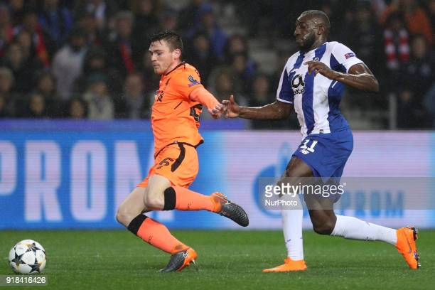 Porto's Malian forward Moussa Marega in action with Dejan Lovren defender of Liverpool during the UEFA Champions League match between FC Porto and...