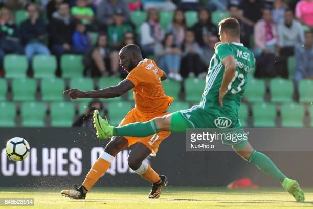 Porto's Malian forward Moussa Marega kick uring the Premier League 2017/18 match between Rio Ave FC and FC Porto at Rio Ave Stadium in Vila do Conde...