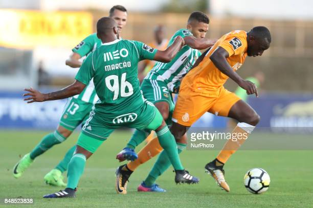 Porto's Malian forward Moussa Marega /R during the Premier League 2017/18 match between Rio Ave FC and FC Porto at Rio Ave Stadium in Vila do Conde...
