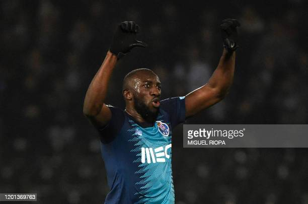 FC Porto's Malian forward Moussa Marega reacts after hearing racists chants during the Portuguese league football match between Vitoria Guimaraes SC...