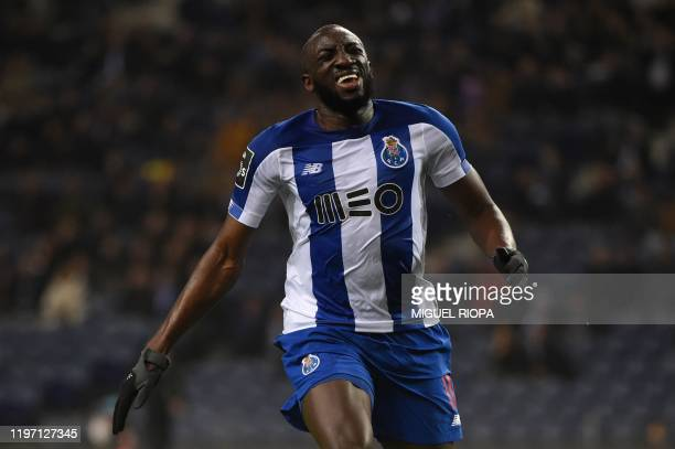FC Porto's Malian forward Moussa Marega reacts during the Portuguese league football match FC Porto against Gil Vicente at the Dragao stadium in...