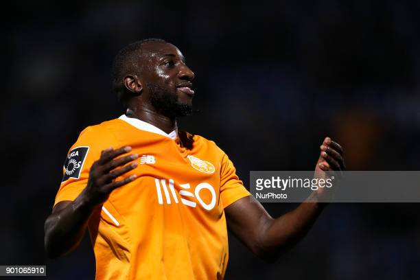 Porto's Malian forward Moussa Marega reacts during the Premier League 2016/17 match between CD Feirense and FC Porto at Marcolino de Castro Stadium...