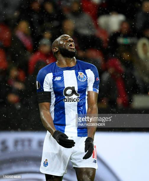 FC Porto's Malian forward Moussa Marega reacts during their Europa League last 32 First Leg soccer match between Bayer Leverkusen v FC Porto western...