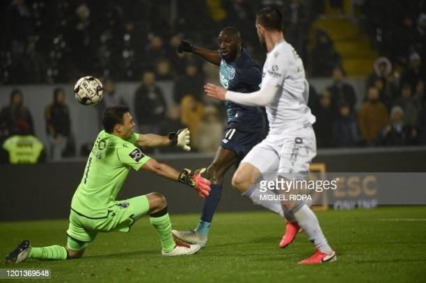 FC Porto's Malian forward Moussa Marega scores a goal during the Portuguese league football match between Vitoria Guimaraes SC and FC Porto at the...
