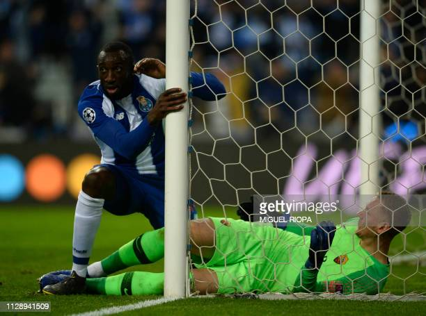 Porto's Malian forward Moussa Marega scores a goal during the UEFA Champions League round of 16 second leg football match between FC Porto and AS...