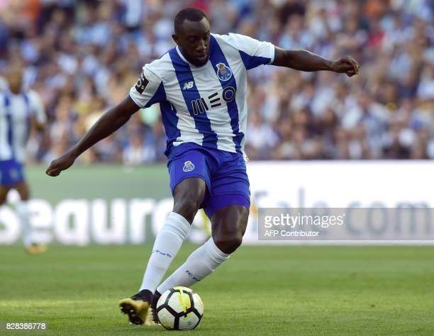 Porto's Malian forward Moussa Marega shoots to score the opening goal during the Portuguese league football match FC Porto vs Estoril Praia at Dragao...