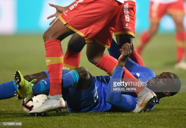 Porto's Malian forward Moussa Marega tries to keep the ball during the Portuguese League football match between CD Aves and FC Porto at the CD Aves...